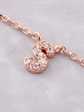Pave Initial Letter Necklace Anarchy Street Rose Gold - Details- S