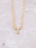 Pave Initial Letter Necklace Anarchy Street Gold- T