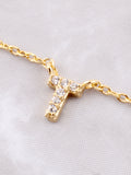 Pave Initial Letter Necklace Anarchy Street Gold - Details- T