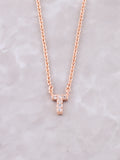 Pave Initial Letter Necklace Anarchy Street Rose Gold- T