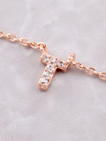 Pave Initial Letter Necklace Anarchy Street Rose Gold - Details- T