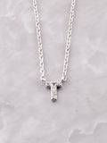 Pave Initial Letter Necklace Anarchy Street Silver- T
