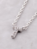 Pave Initial Letter Necklace Anarchy Street Silver - Details- T