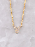 Pave Initial Letter Necklace Anarchy Street Gold- V
