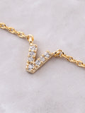 Pave Initial Letter Necklace Anarchy Street Gold - Details- V