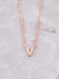 Pave Initial Letter Necklace Anarchy Street Rose Gold- V
