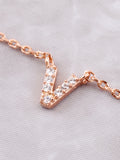 Pave Initial Letter Necklace Anarchy Street Rose Gold - Details- V