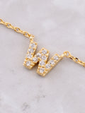 Pave Initial Letter Necklace Anarchy Street Gold - Details- W