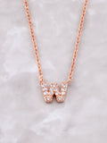 Pave Initial Letter Necklace Anarchy Street Rose Gold- W