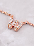 Pave Initial Letter Necklace Anarchy Street Rose Gold - Details- W