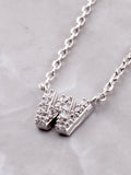 Pave Initial Letter Necklace Anarchy Street Silver - Details- W