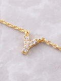 Pave Initial Letter Necklace Anarchy Street Gold - Details- Y