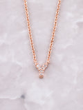 Pave Initial Letter Necklace Anarchy Street Rose Gold- Y