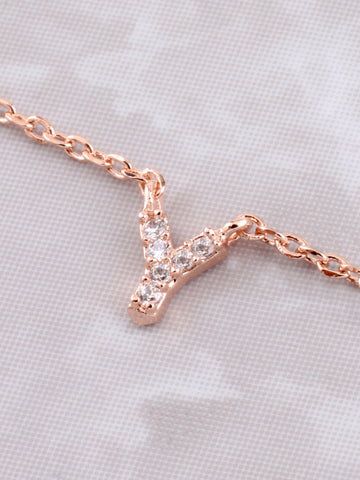 Pave Initial Letter Necklace