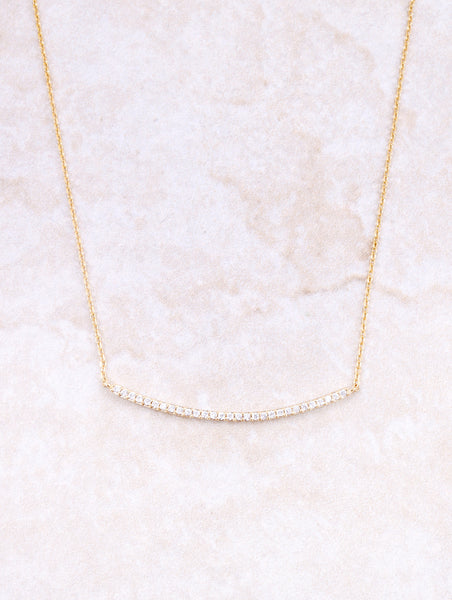 Curved Bar Pave Necklace Anarchy Street Gold
