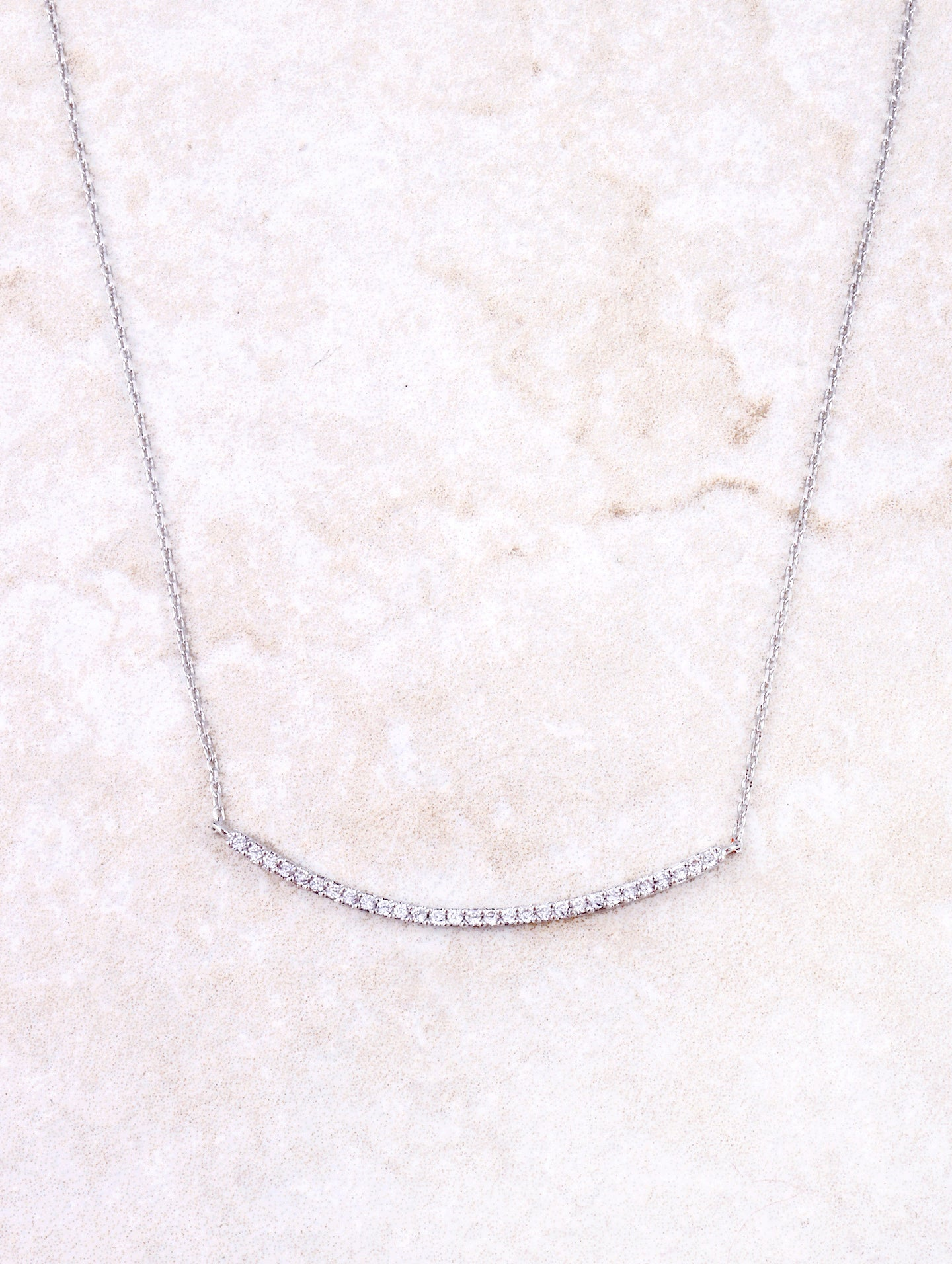 Curved Bar Pave Necklace Anarchy Street Silver