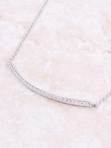 Curved Bar Pave Necklace Anarchy Street Silver - Details