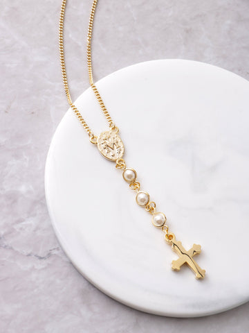 Half Rosary Necklace Anarchy Street Gold