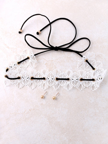 Laced Choker And Stud Earrings Set