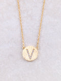 Circle Initial Necklace Anarchy Street Gold V