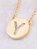 Circle Initial Necklace Anarchy Street - Gold Y
