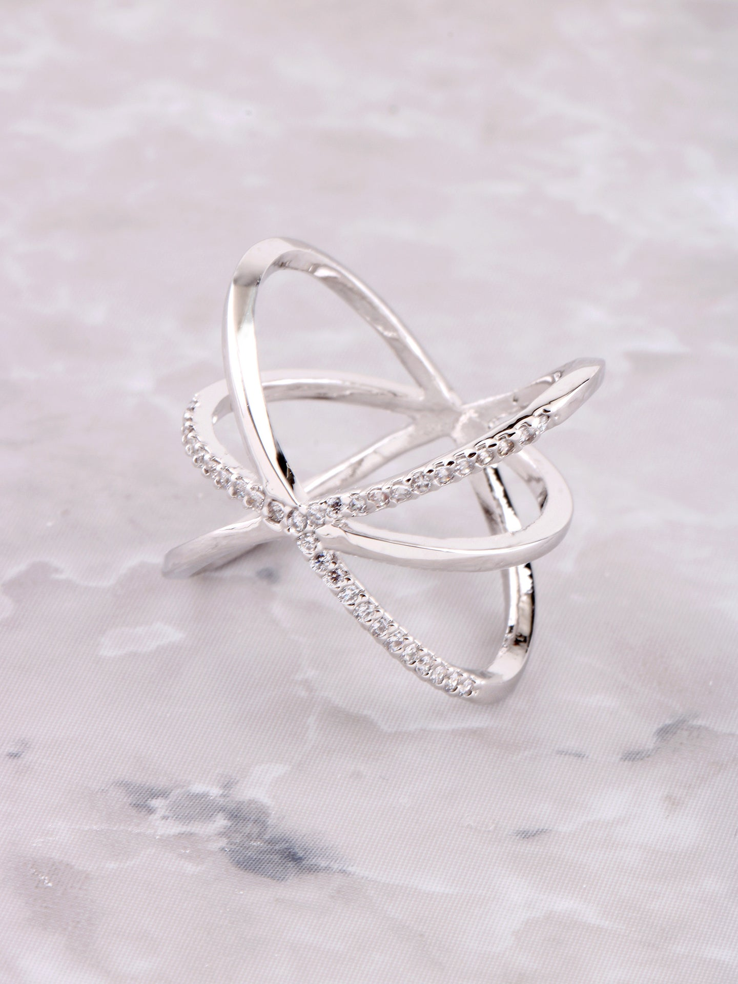 Criss Cross Y Pave Ring Anarchy Street Silver