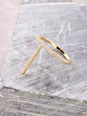 Vertical Pave Stick Ring Anarchy Street Gold