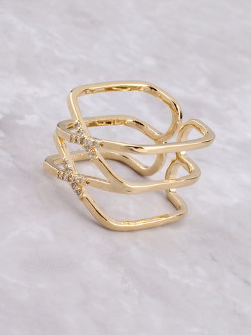 Double X Pave Ring Anarchy Street Gold