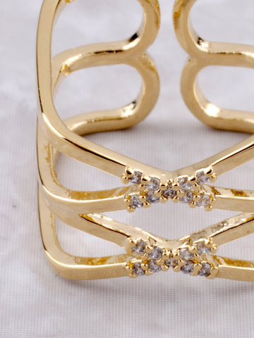 Double X Pave Ring Anarchy Street Gold - Details