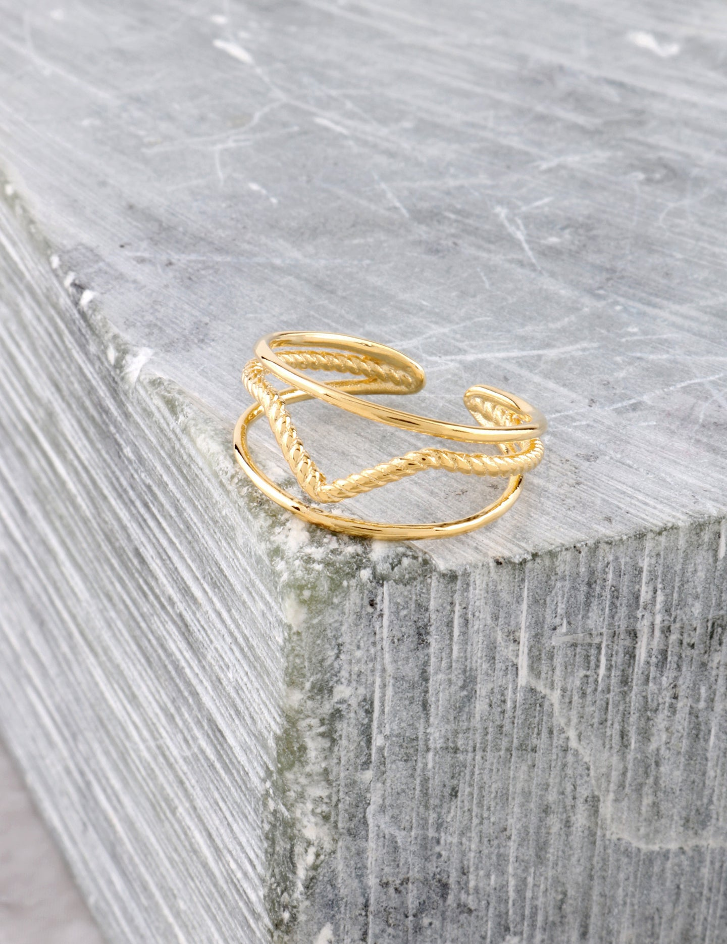 Textured Peak Ring Anarchy Street Gold