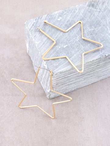 Star Hoops Earrings Anarchy Street Gold