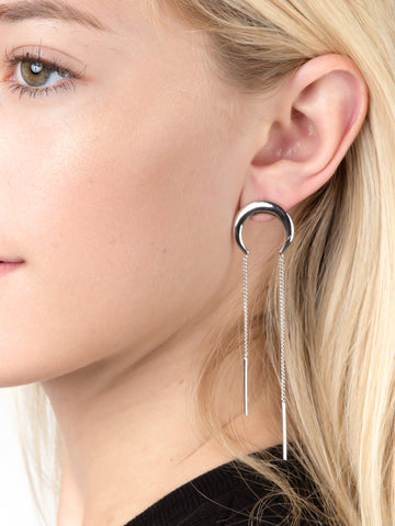 Crescent Chain Bar Earrings