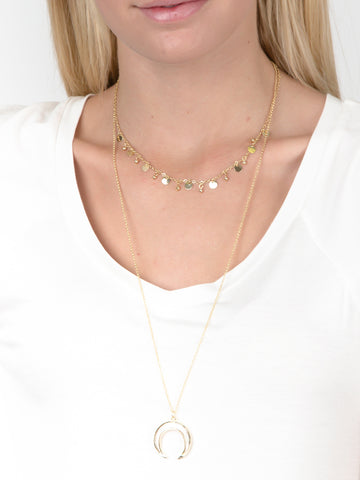 Pearl Horn Layered Necklace