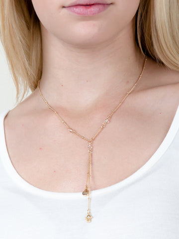 Ball Chain Hamsa Necklace