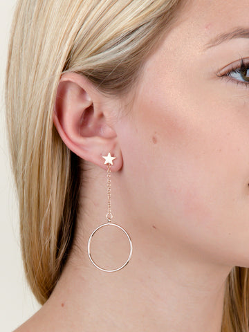Moon & Star Hanging Hoop Earring