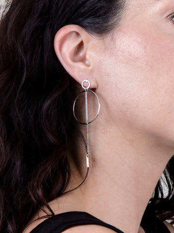 Two Tone Chain Bar Earring