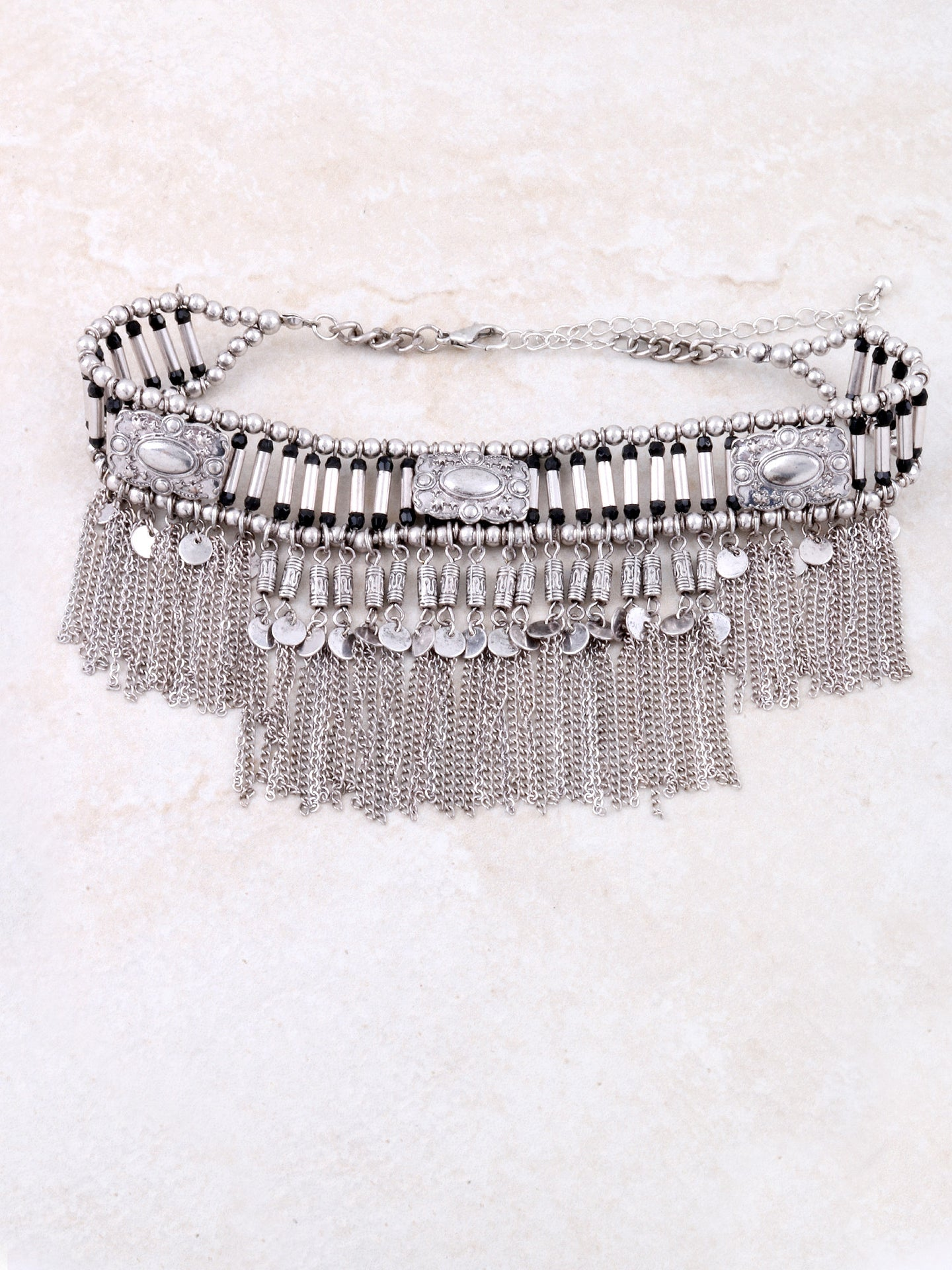 Chain Tasseled Choker Anarchy Street Silver