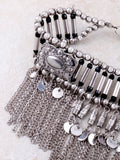 Chain Tasseled Choker Anarchy Street Silver - Details