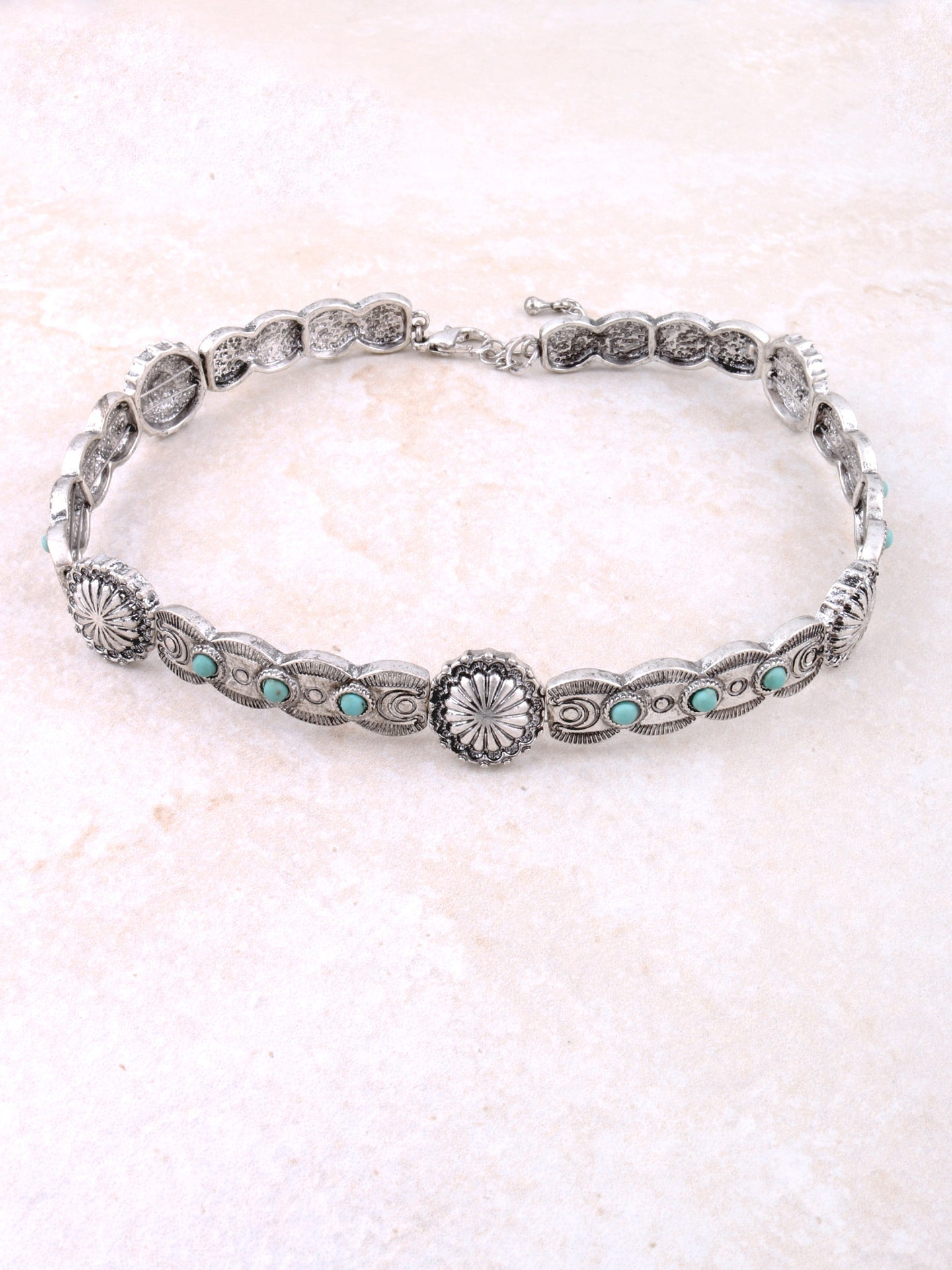 Turquoise Flower Choker Anarchy Street Silver