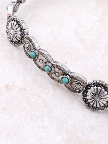 Turquoise Flower Choker Anarchy Street Silver - Details