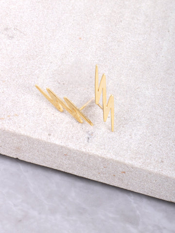Zig Zag Stud Earrings Anarchy Street Gold