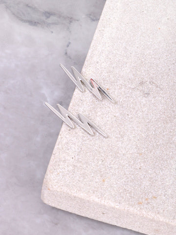 Zig Zag Stud Earrings Anarchy Street Silver