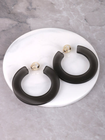 Small Acrylic Loop Earrings Anarchy Street Black