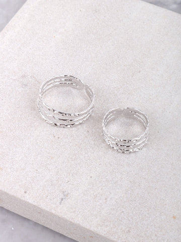 Textured Ring Set Anarchy Street Silver