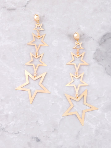 Cascading Stars Dangle Earrings Anarchy Street Gold