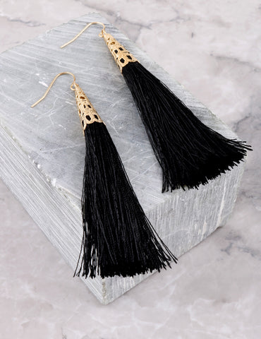 Fringe Tassel Earrings Anarchy Street Black