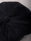 Corduroy News Boy Hat Anarchy Street Black - Details