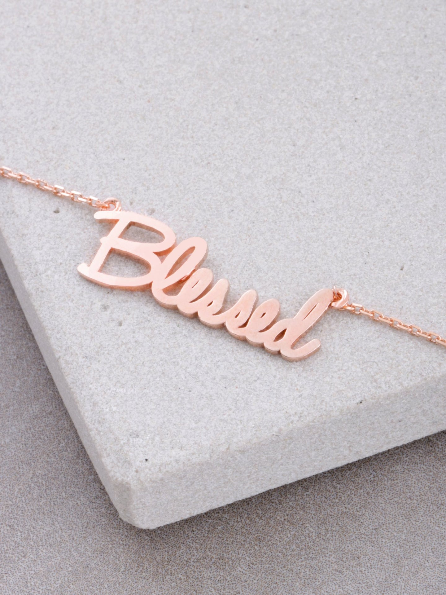 Blessed Script Necklace Anarchy Street Rosegold