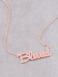 Blessed Script Necklace Anarchy Street Rosegold - Details