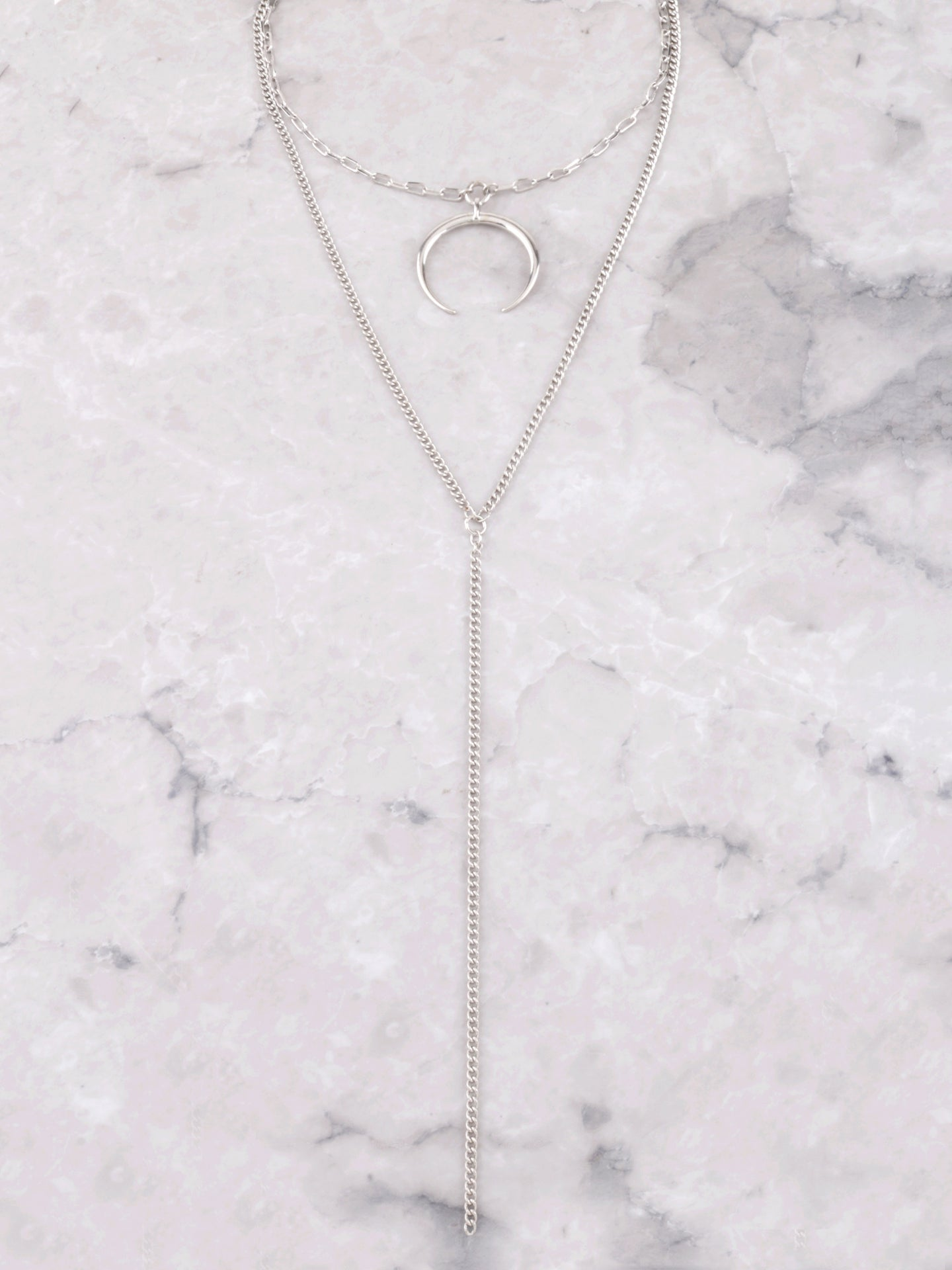 Crescent Horn Layered Choker Anarchy Street Silver